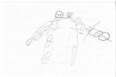 Das komplette Monster-Design in Skizze.